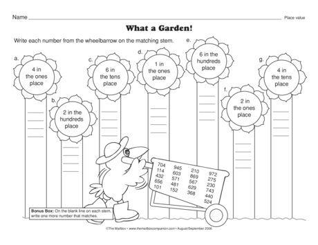 A sunflower garden of place value practice. Math worksheet