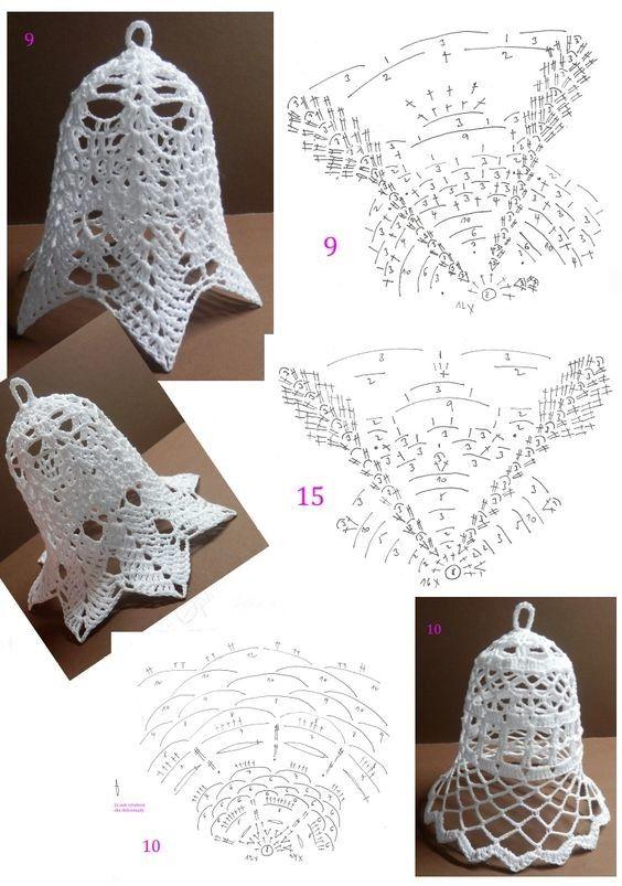 Crochet bells   campanitas navideñas   Pinterest   Navidad, Adornos ...