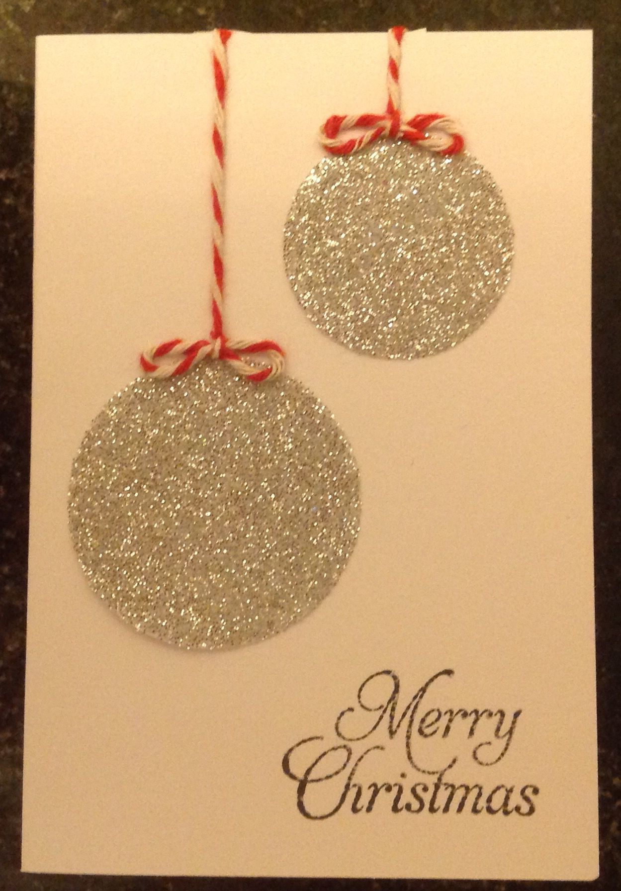 Simple elegant silver bauble Christmas card
