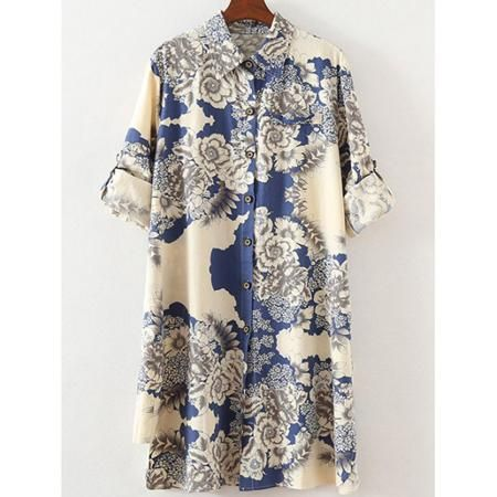 Plus Size Ethnic Adjustable Sleeve Floral Shirt