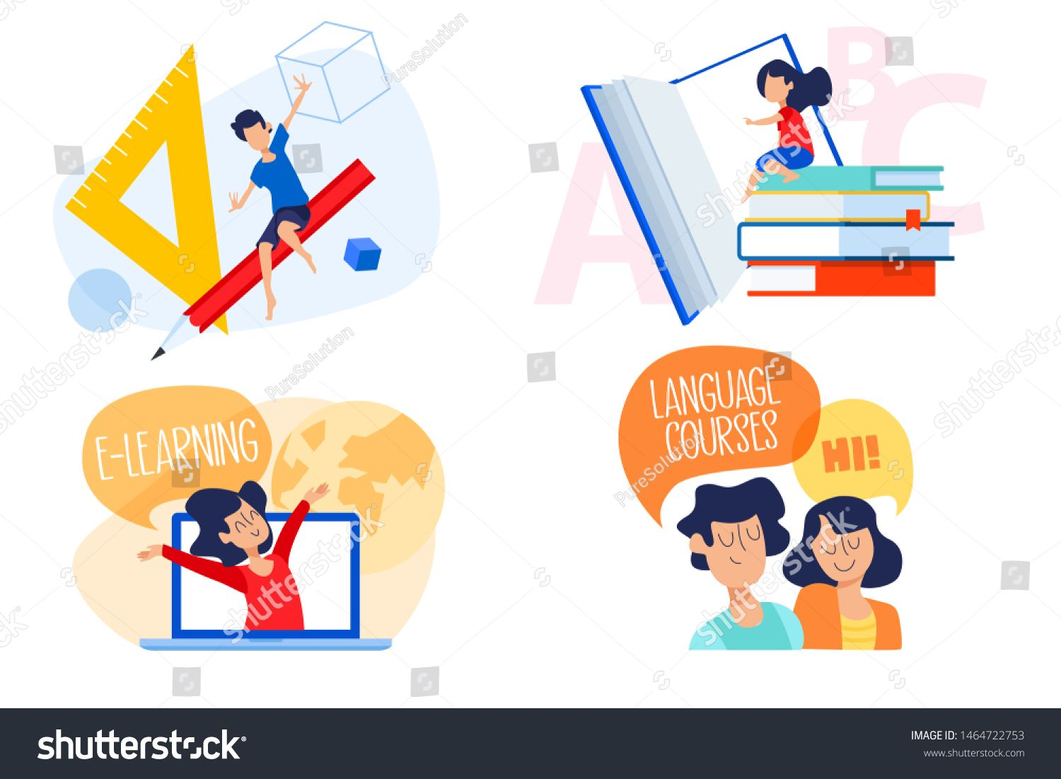 Flat design concept of education, elearning, language