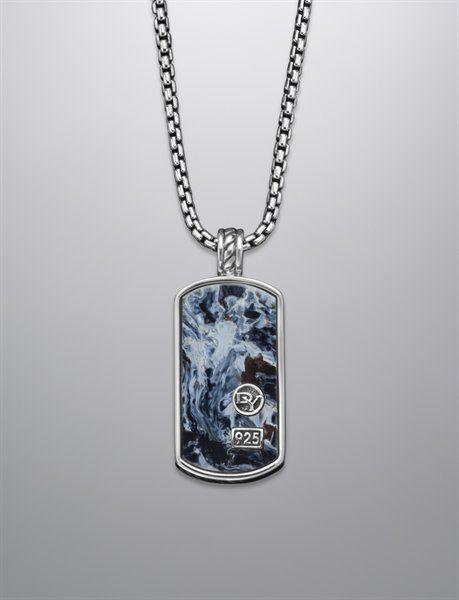 David Yurman Tag necklace for men: pietersite, silver