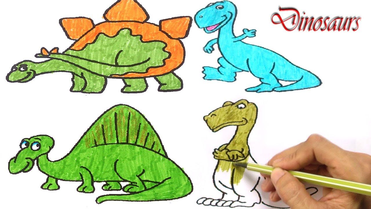 Dinosaur family | Draw and paint the dinosaurs | Video Dinosaurs for ...