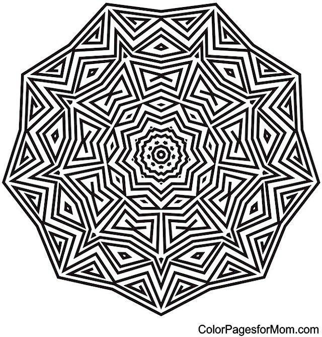 Adult Mandala Coloring Page For Stress Relief Mandala Coloring