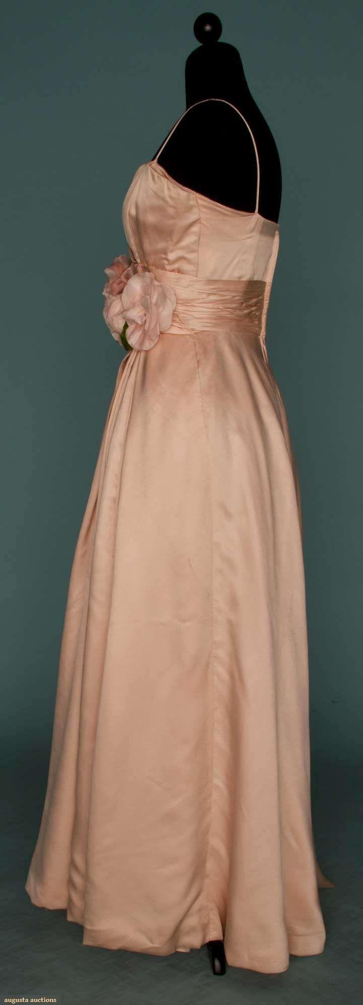 Pink satin ballgown s spaghetti straps fitted bodice wide
