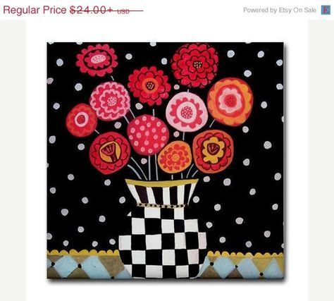 YIPEE 50% off- Kitchen Tile Flower Tile Harlequin Art Black and White Vase Tile Red, Pink Flowers