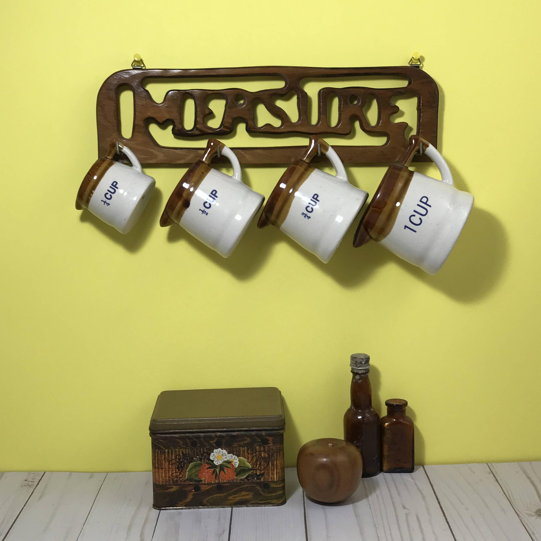 Stoneware Hanging Measuring Cup Set - Brown Crock Baking Tools ...