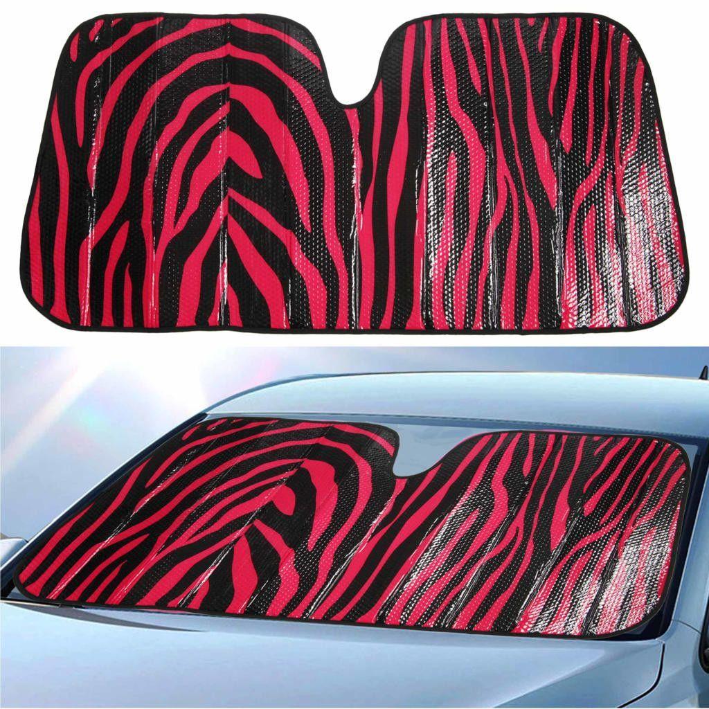 "Auto Sunshade - Front Windshield Sun Protector - 58"" x 28"" - Red Zebra"