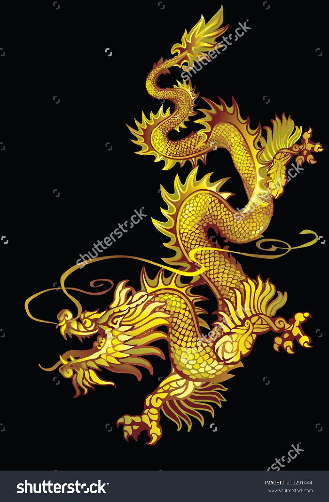 Stock Vector Descending Gold Oriental Dragon On A Black Background 200291444 Jpg 1050 1600