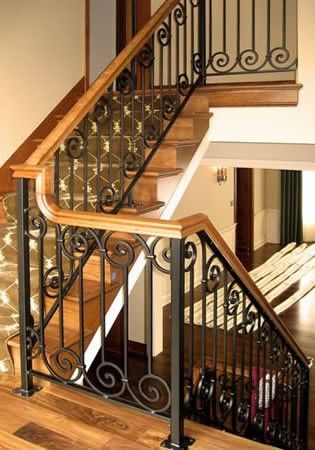 Metal railing with wood hand rail cap wood stairs with ...