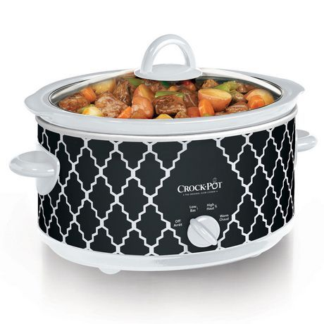 crockpot manual slow cooker black u0026 white lattice available from walmart canada