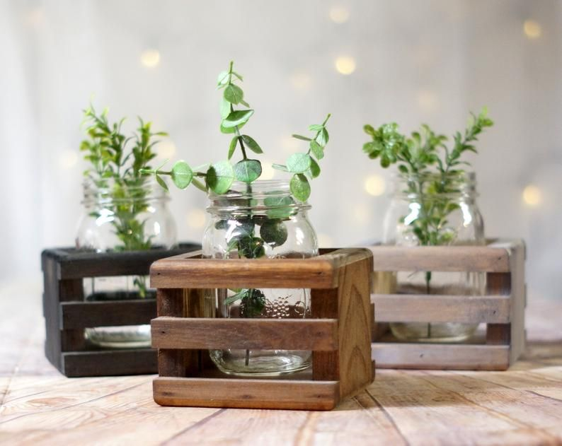 Wood Box Centerpiece Box For Mason Jars Rustic Box 3 Mason Etsy In 2020 Wood Box Centerpiece Rustic Halloween Decor Flower Boxes