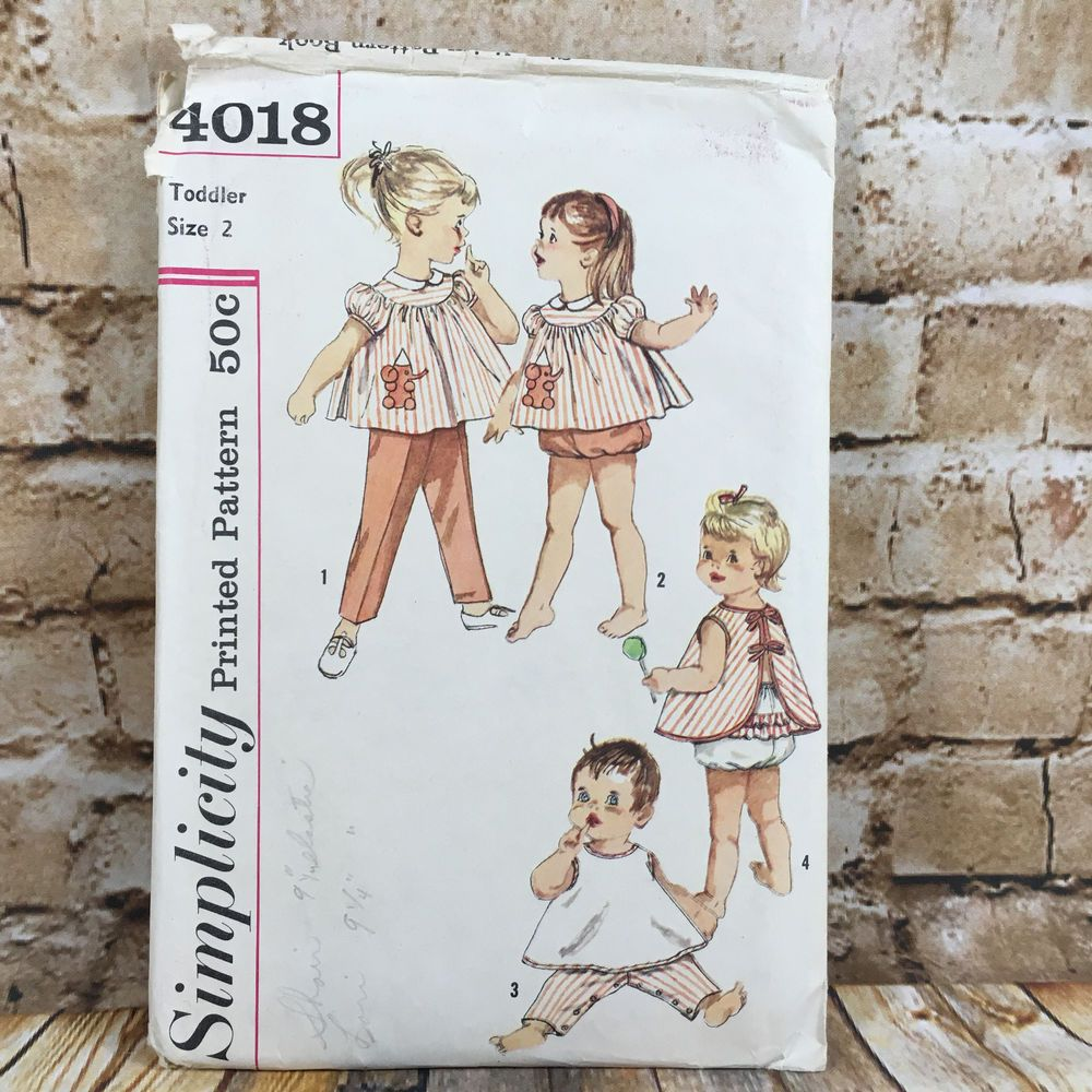 Vintage simplicity 4018 toddlers top pants apron panties size 2 vintage simplicity 4018 toddlers top pants apron panties size 2 sewing pattern simplicity ad jeuxipadfo Choice Image
