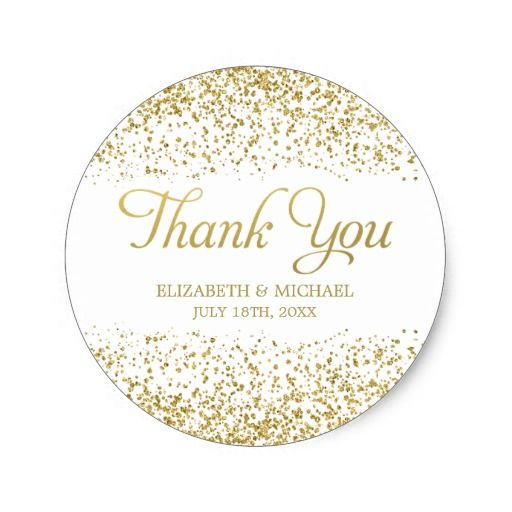 White Faux Gold Glitter Wedding Favor Thank You Clic Round Sticker