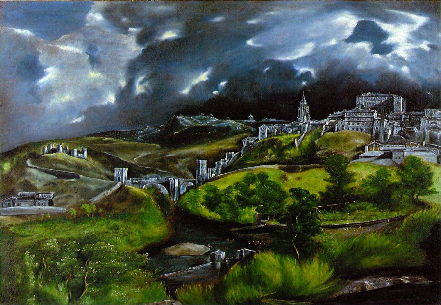 View of Toledo El Greco (Domenikos Theotokopoulos, Greece, 1541 - 1614) ca.1604-14 oil on canvas, 121.3 cm × 10…   El greco paintings, Landscape paintings, El greco