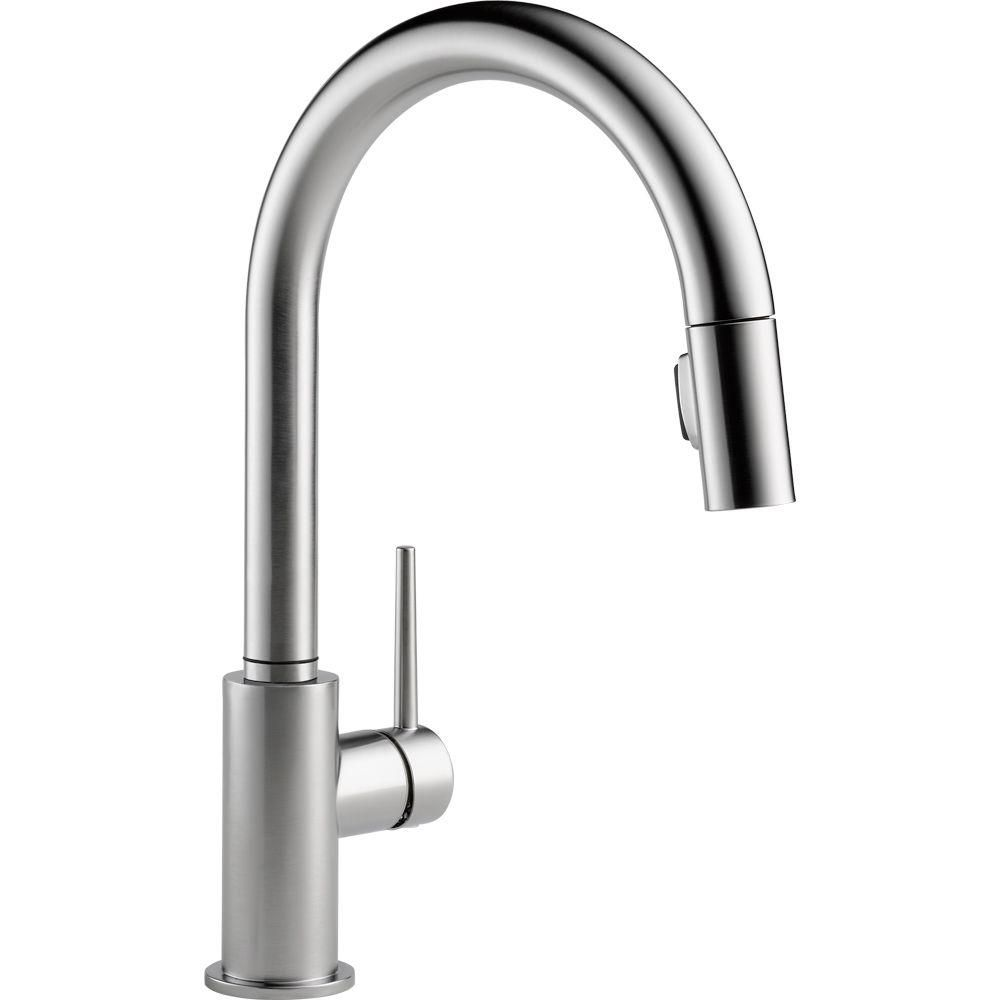 Kitchen Faucets With Sprayer Cabinets Philadelphia Delta Trinsic Single Handle Pull Down Faucet In Arctic Stainless Featuring Magnatite Docking 9159 Ar Dst At The Home Depot