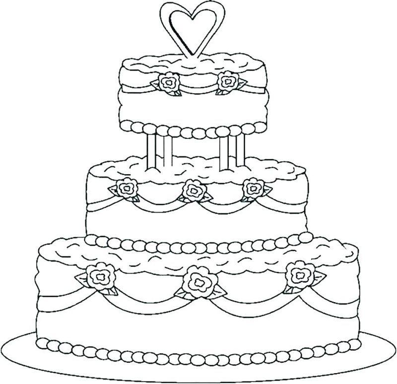 Free Wedding Cake Coloring Pages Gambar