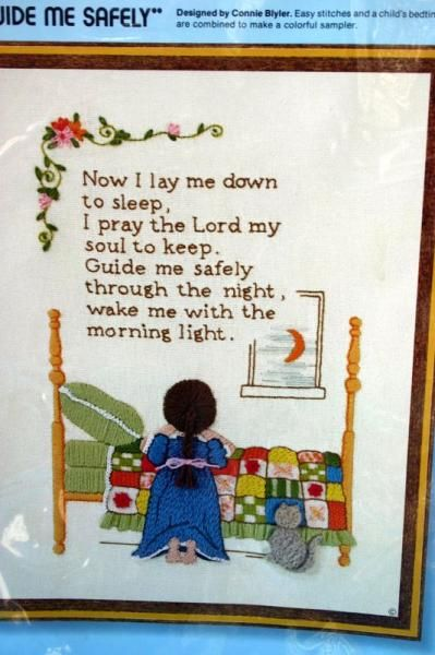 CHILDRENS BEDTIME PICTURES | Details about Sunset Stitchery Childrens Bedtime Prayer VTG Crewel ...