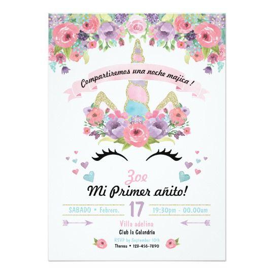 Invitación del cumpleaños del unicornio Zazzlees Deco cumples