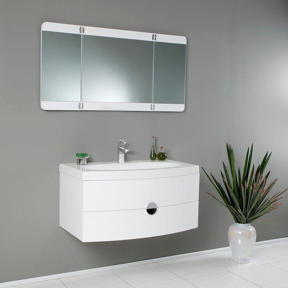 Fresca Modern Bathroom Vanity With 3 Panel Folding Mirror Free Faucet White