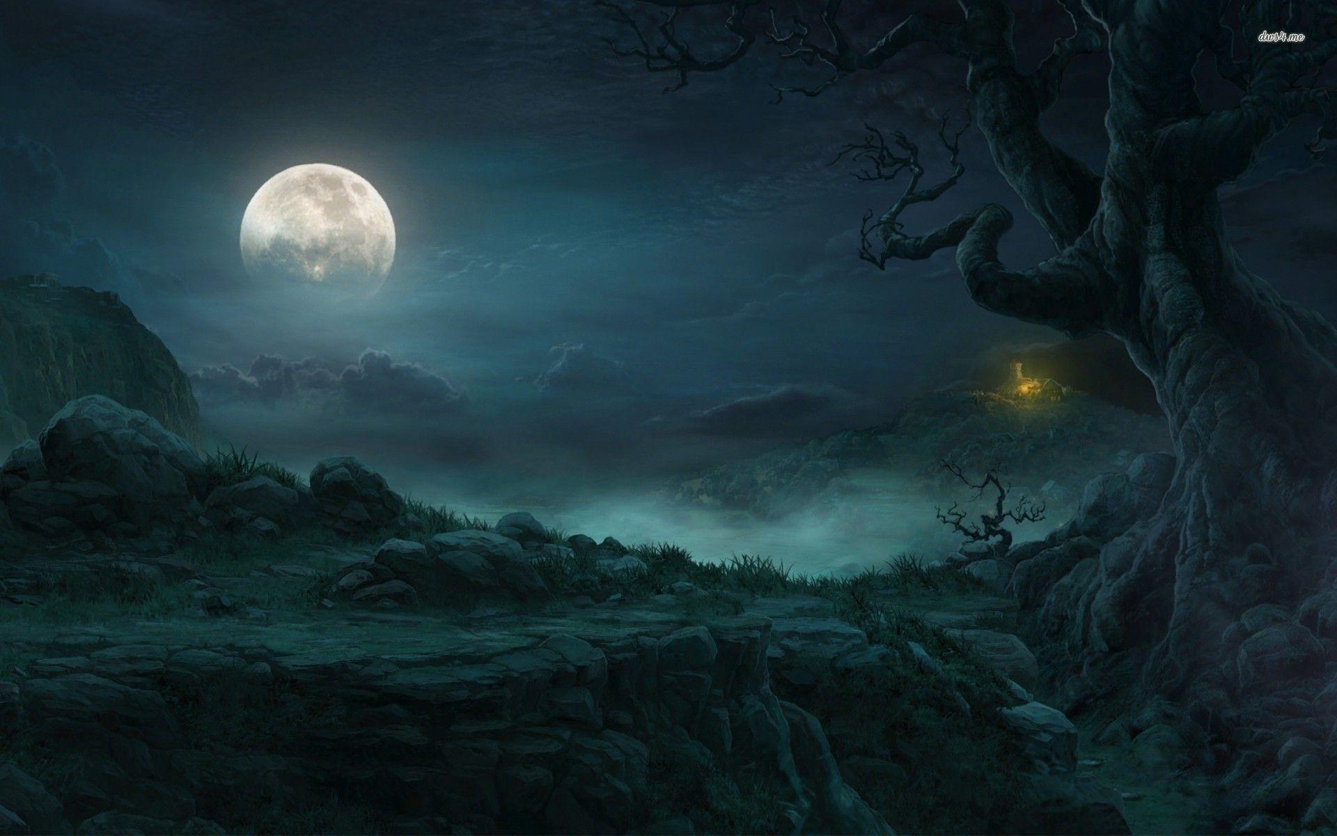 Dark Forest Moon Wallpaper Hd On Wallpaper 1080p Hd Fantasy Landscape Forest Moon Moon Artwork