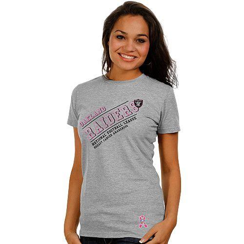 uk availability b3c1c bd1fb Pro Line Oakland Raiders Women's Breast Cancer Awareness T ...