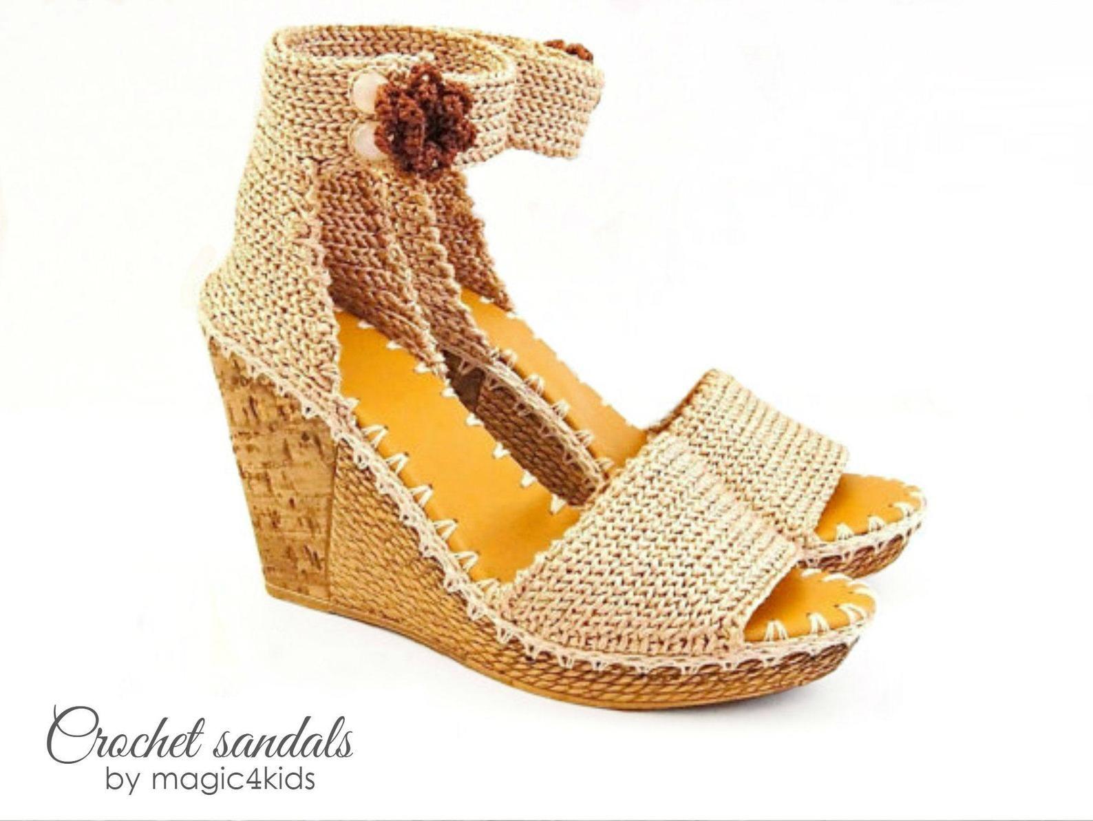 4f68f90c1 Outdoor crochet wedges sandals - women crochet sandals
