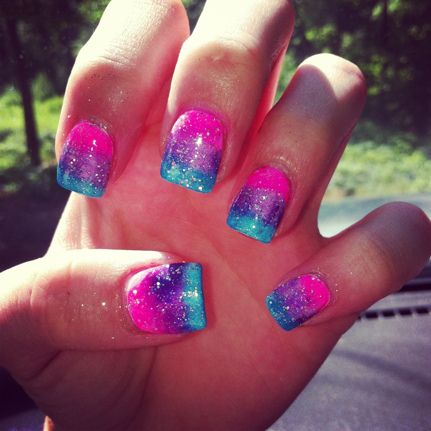 Pink blue and purple ombr w/ sparkles. Nail art | Nails ...
