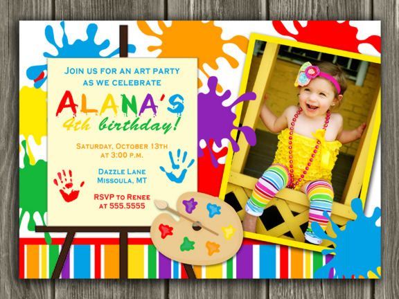 Art Party Invitation Printable Rainbow Paint Party Birthday – Art Party Invitation