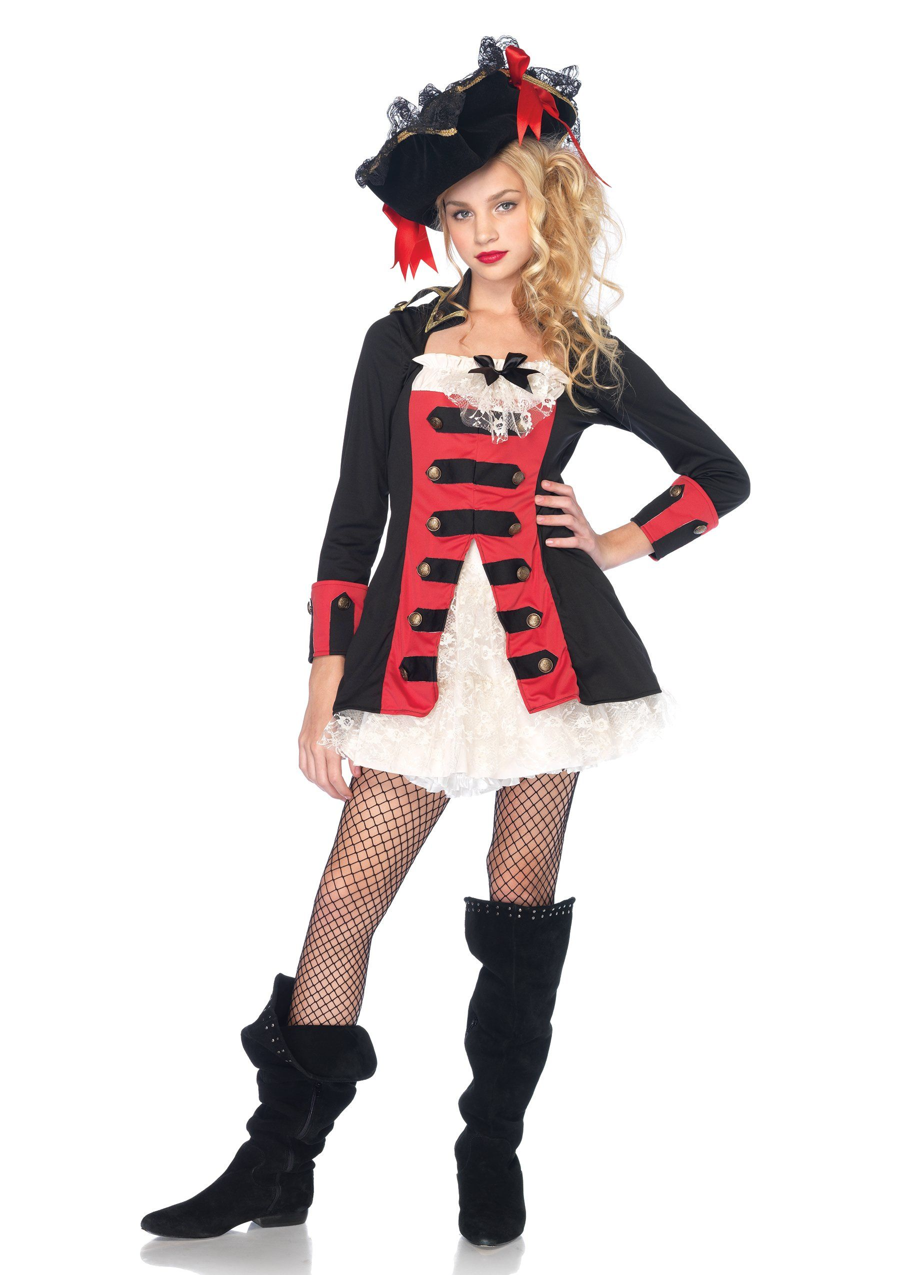 Leg Avenue Juniors Pretty Pirate Captain Costume Black Red