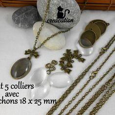 Kit 5 colliers + 5 cabochons 18x25mm + 5 connecteurs noeuds, couleur bronze