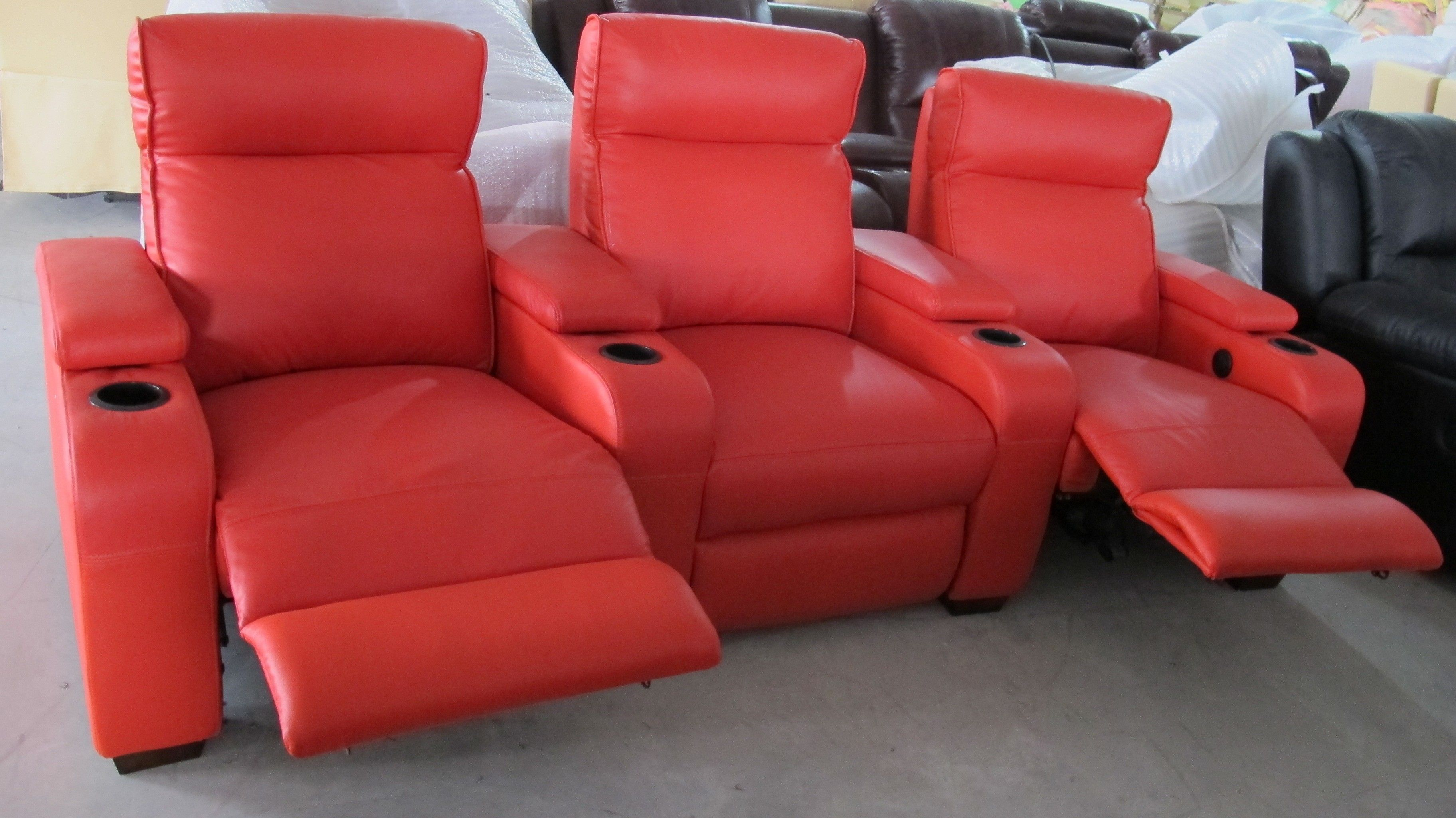Furniture Living Room Exotic Three Pieces Red Leather Recliner Sofa Lazy Boy
