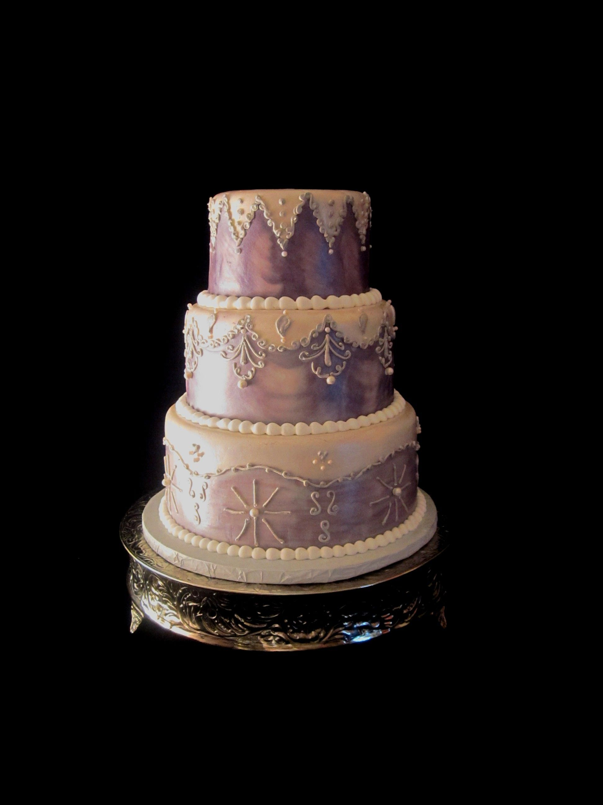 Awesome Fondant Purple And White Wedding Cake Lexington Ky Winter Funny Birthday Cards Online Overcheapnameinfo