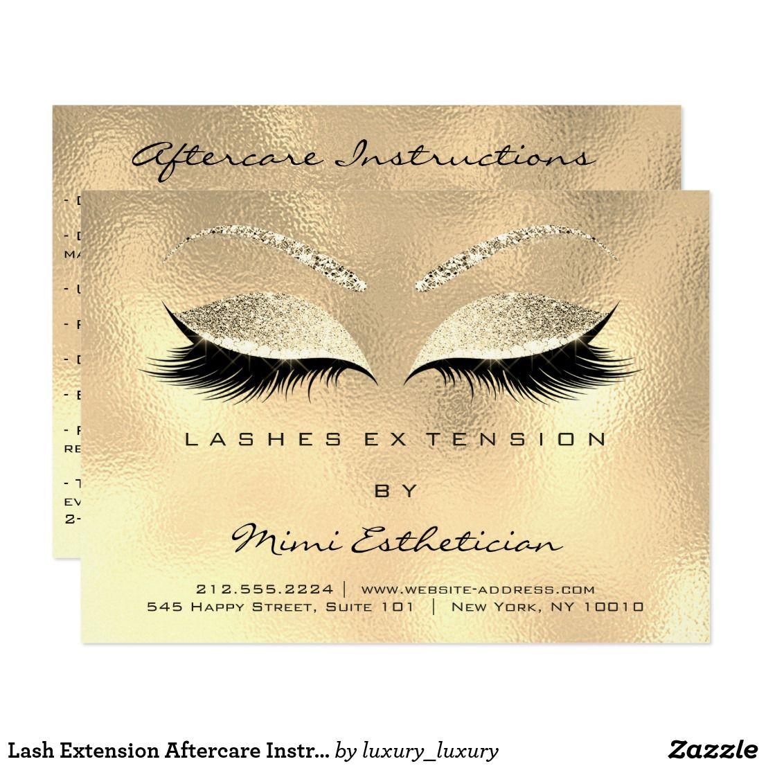 Lash Extension Aftercare Instruction Gold Gllitter Card