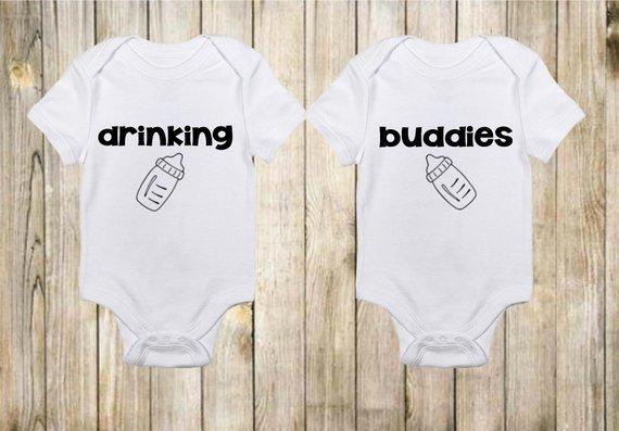 c462d793c Funny Onesies® - Cute Onesies - Twin Onesies - Drinking Buddies Onesies -  Baby Boy
