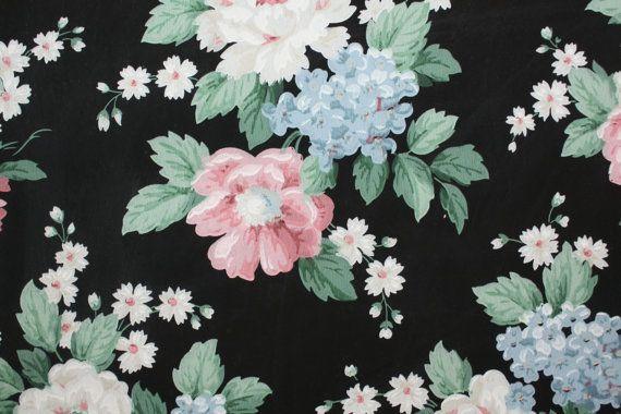 Vintage Wallpaper Bold Floral On Black Iphone Wallpaper
