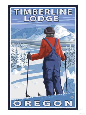 Skier Admiring, Timberline Lodge, Oregon Posters at AllPosters.com