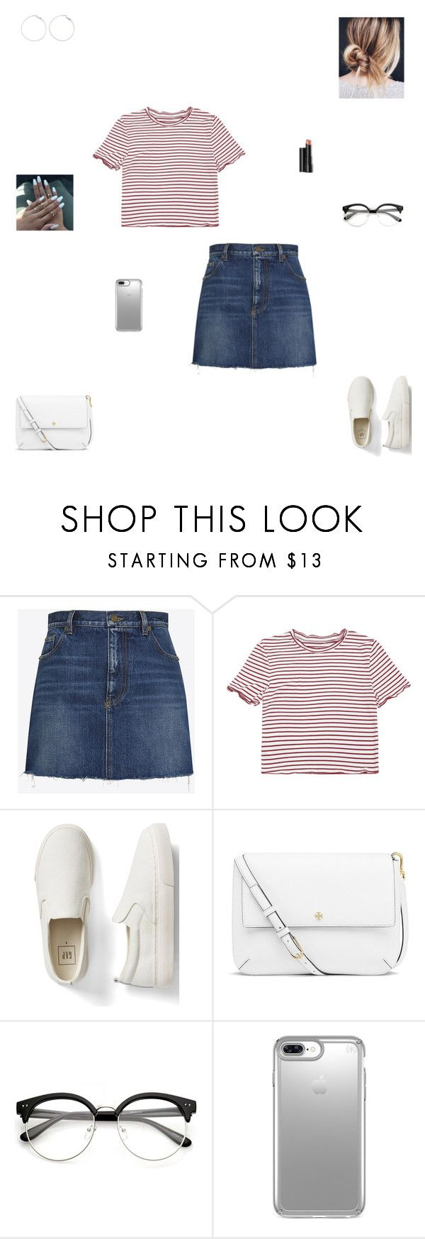 """casual day #27"" by synclairel ❤ liked on Polyvore featuring Yves Saint Laurent, Gap, Tory Burch, Arbonne, Speck, Summer, cute, casual and ootd"