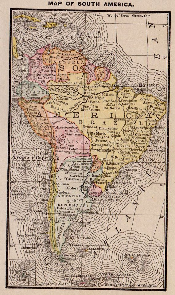 1888 Antique SOUTH AMERICA Map of South America MINIATURE Map Rare Size Anniversary Gift for Birthday Wedding 9115