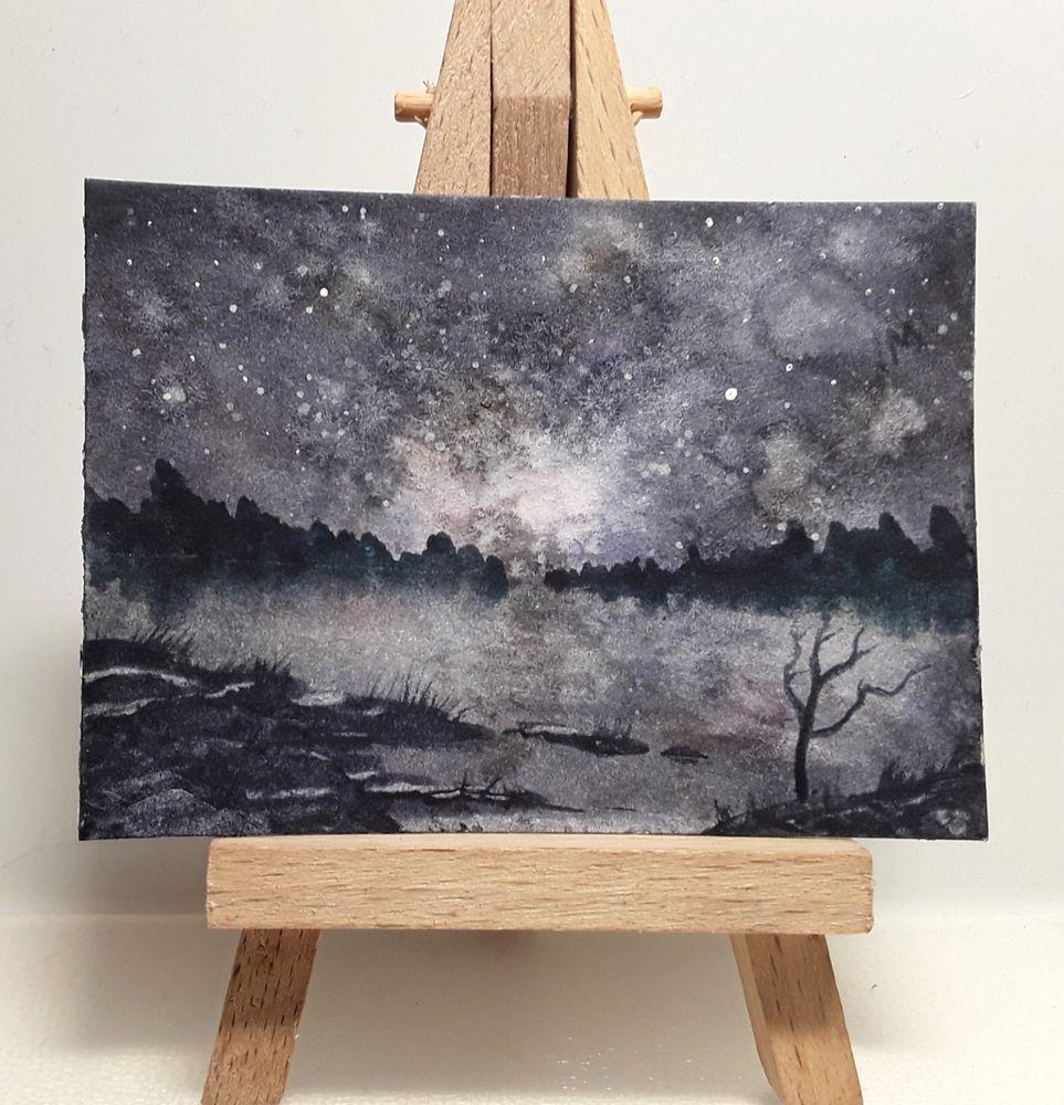 Sale Jan Original Watercolour Painting Aceo Space Universe Night Stars Art Atc Star Art Original Watercolor Painting Original Watercolors