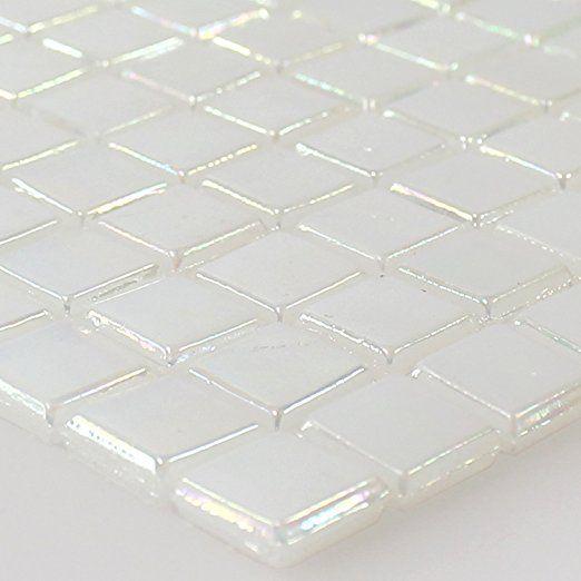 Glasmosaik Fliesen Perlmutt Effekt Weiss Beige mit