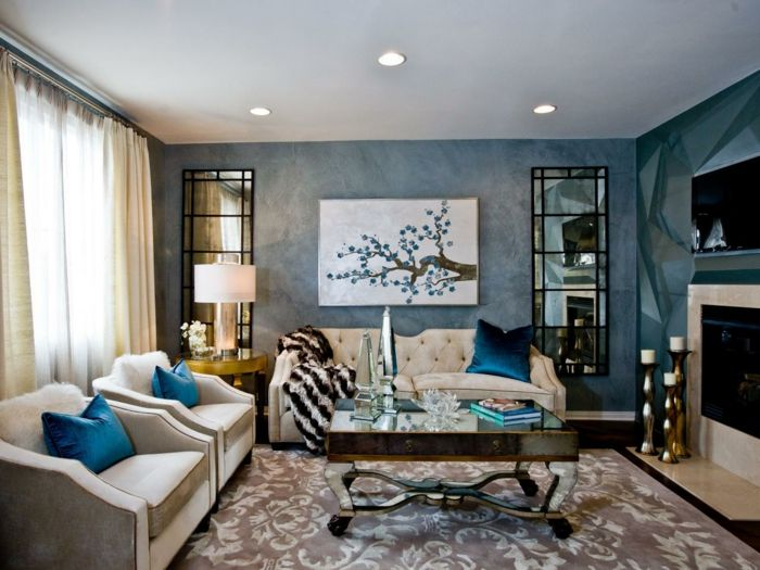 wandgestaltung ideen wohnzimmer blaue wände spiegeloberflächen