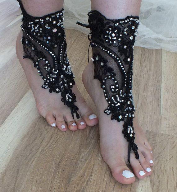 810c58727f3fb gorgeous wedding shoes · sandals black beach shoes gothic bridal sandals  lariat sandals wedding bridal bellydance gothic wedding shoes summer ...
