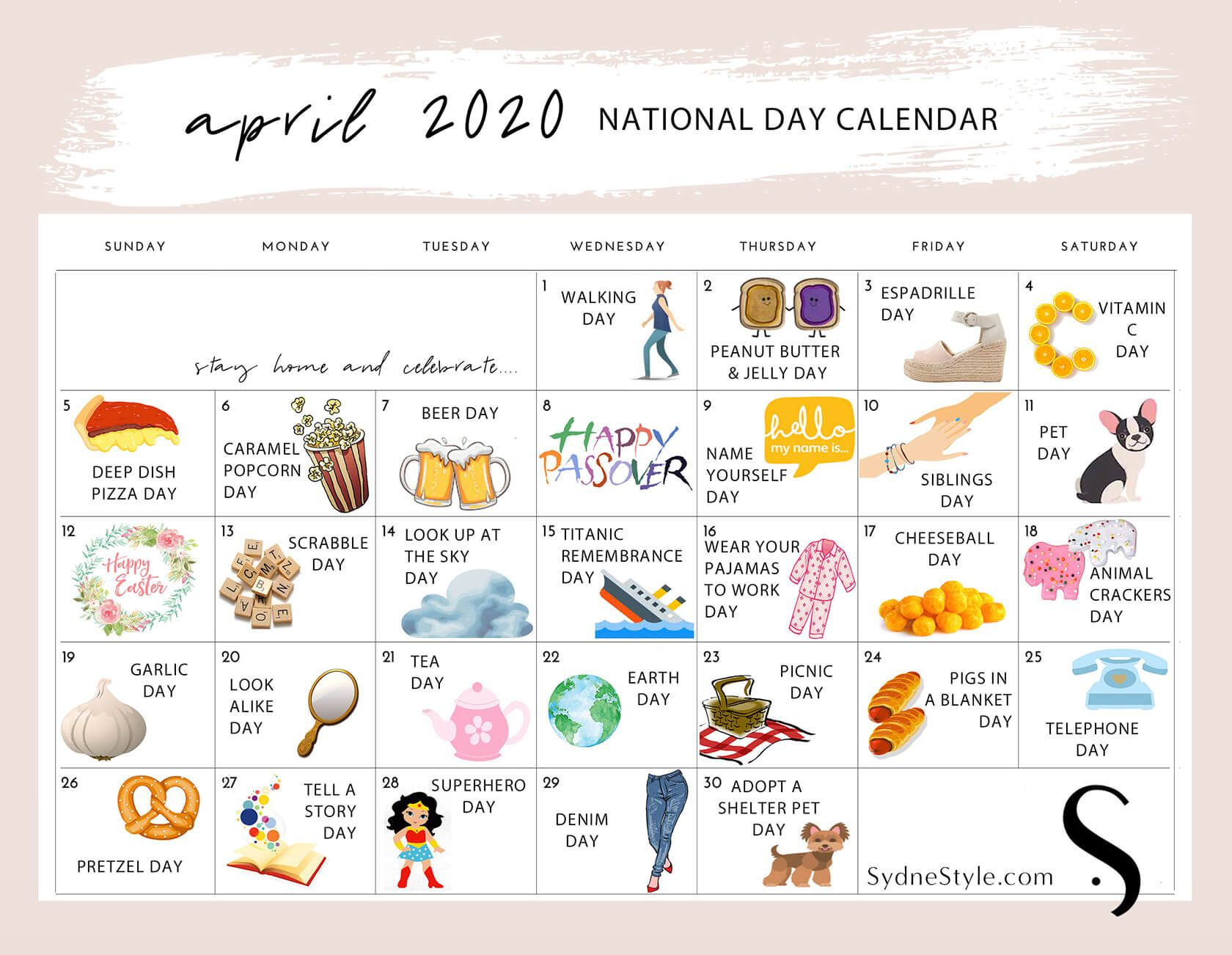 April National Days 2020 Calendars Celebrate Every Day