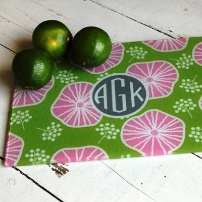 Preppy Monogrammed Glass Cutting Board
