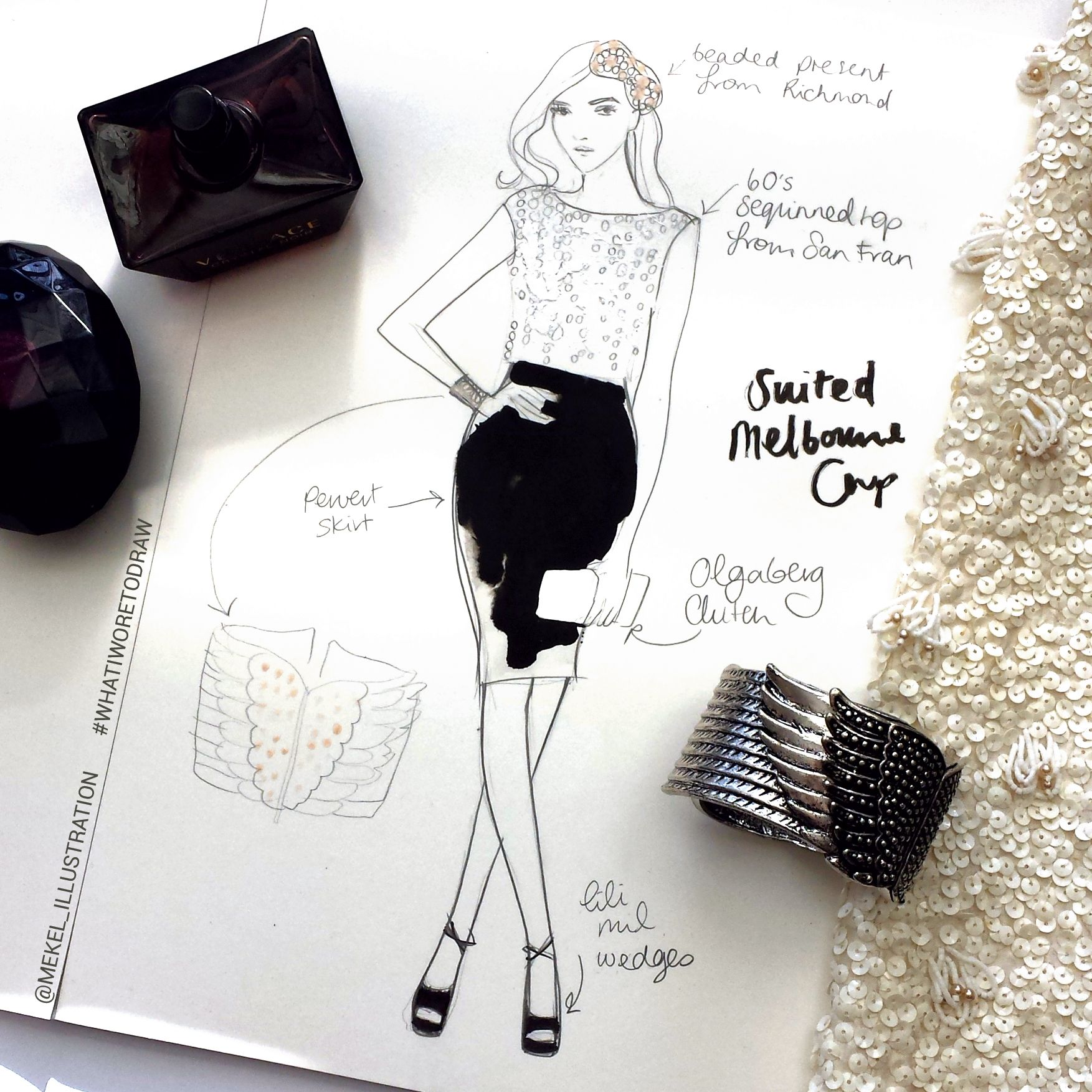 What I Wore To Draw Vintage Sequin Top Black Pervert Dress Skirt Melbourne Beaded Headpiece Melbourne With Images Fashion Illustration Beaded Headpiece Vintage Sequin Top