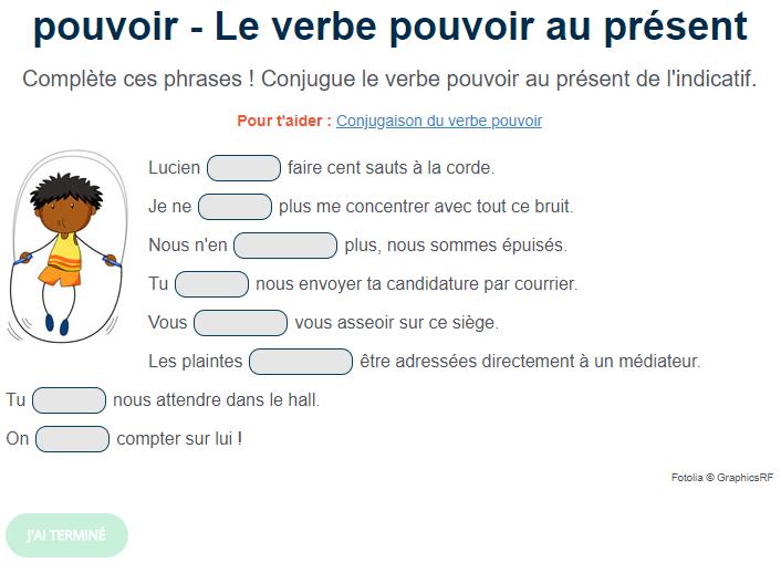 Exercice De Conjugaison Le Verbe Pouvoir Au Present Verbe Pouvoir Exercice De Francais Cm1 Exercices Conjugaison