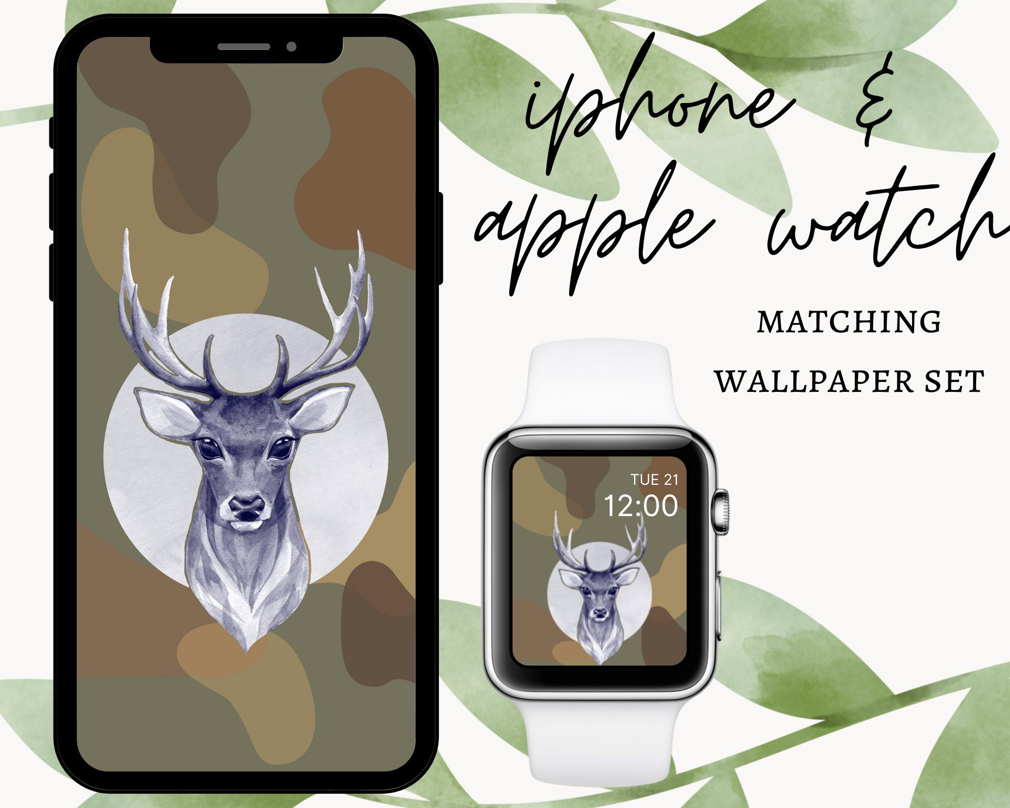 Iphone wallpaper and Apple Watch matching set | Etsy