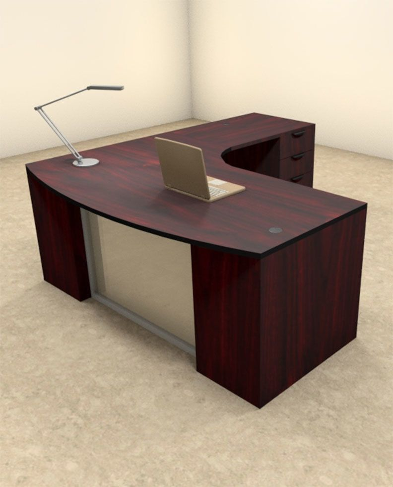 3pc L Shaped Modern Contemporary Executive Office Desk Set Of