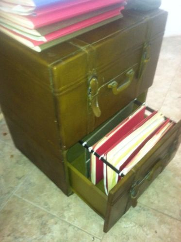 Traveler Trunk Style File Cabinet, 2 Drawer, Leather Look, Buckles